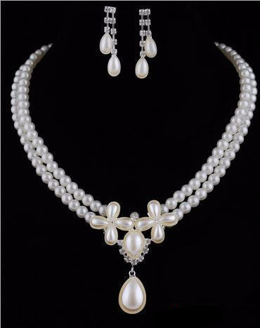 Romantic Pearl Necklace Earring Bridal Set - 786shop4you