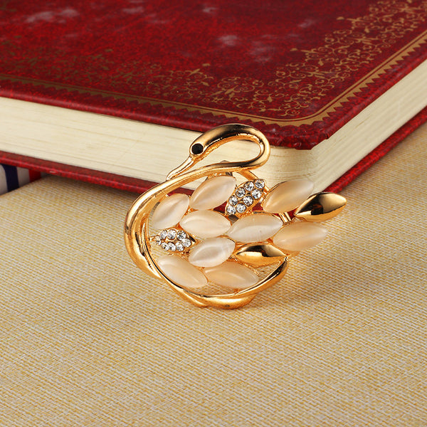 Gold Plated Swan Scarves Buckle Brooch