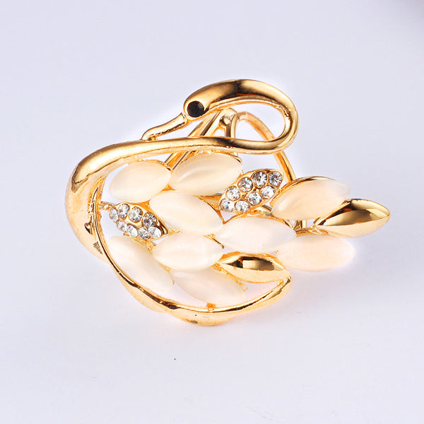 Gold Plated Swan Scarves Buckle Brooch - 786shop4you