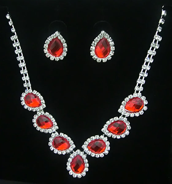 Crystal Water Drop Necklace Set DLT - 786shop4you