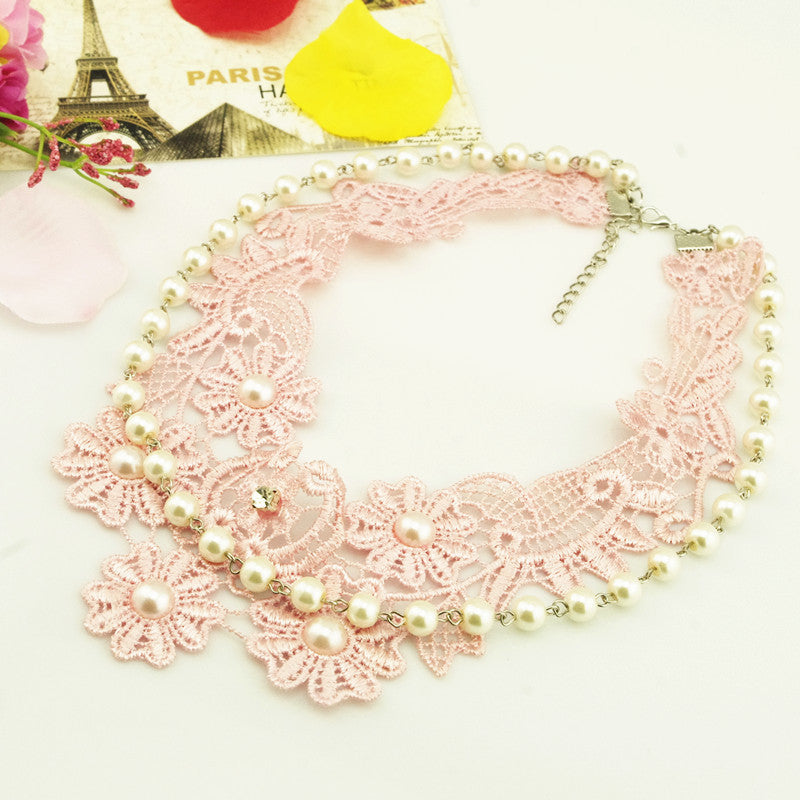 Pearl Short Lace Flower Necklace - 786shop4you