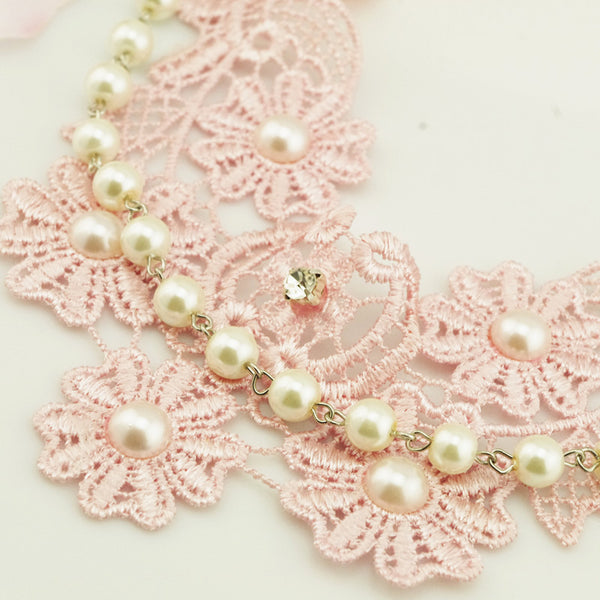 Pearl Short Lace Flower Necklace