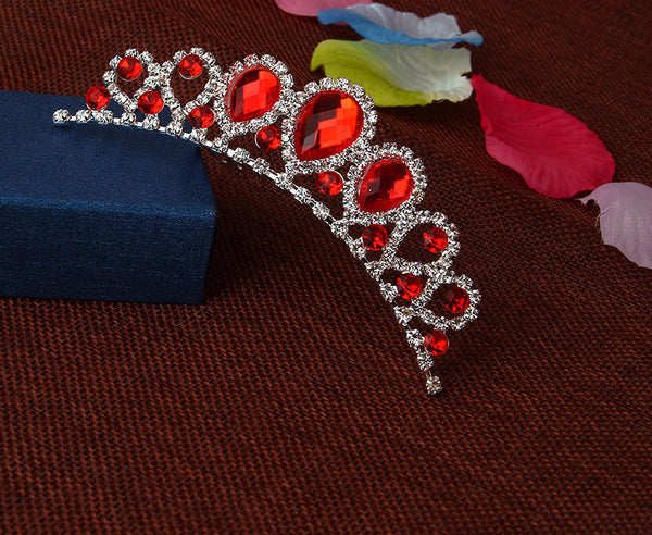 Crystal Red Water Drop Tiara - 786shop4you