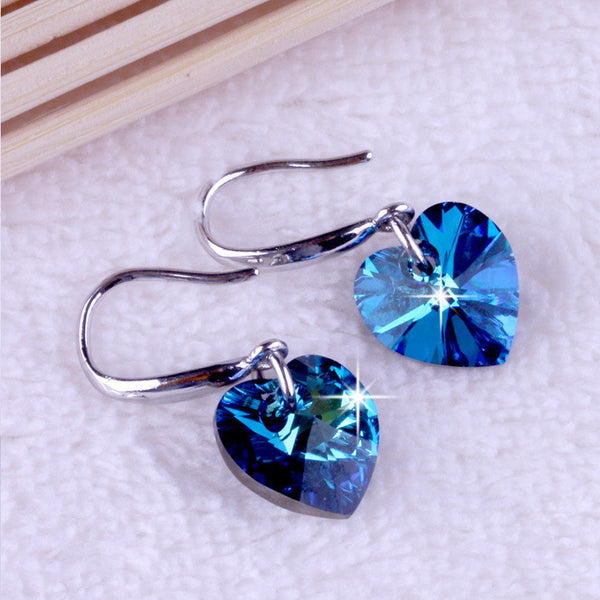 Ocean Blue Heart Crystal Earring