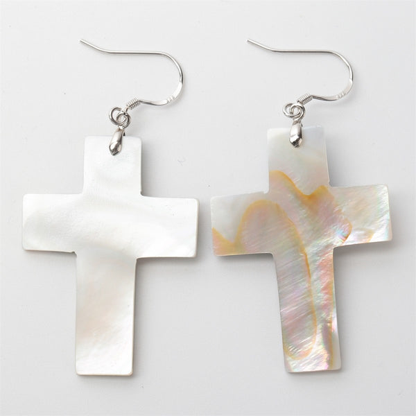 925 Sterling Silver Shell Cross Drop Earring YQ - 786shop4you