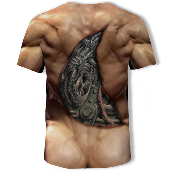 Mens 3D Tattoo Ab Muscle T-Shirt - 786shop4you