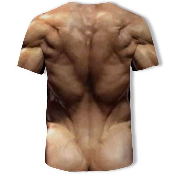 Mens Tiger 3D Tattoo Ab Muscle T-Shirt - 786shop4you