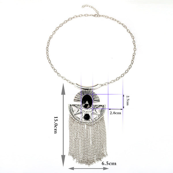 Antique Silver Tassel Necklace LB - 786shop4you
