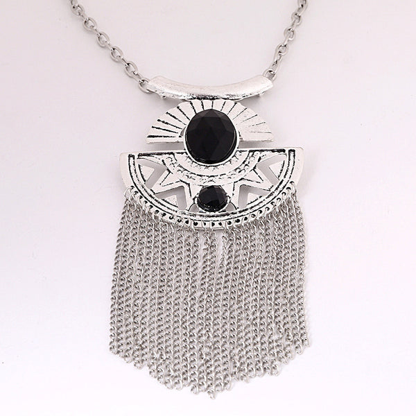 Egyptian Black Silver Tassel Necklace - 786shop4you