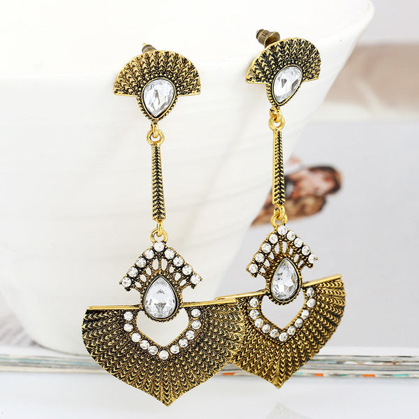 Bohemian Heart Crystal Drop Earring LB - 786shop4you