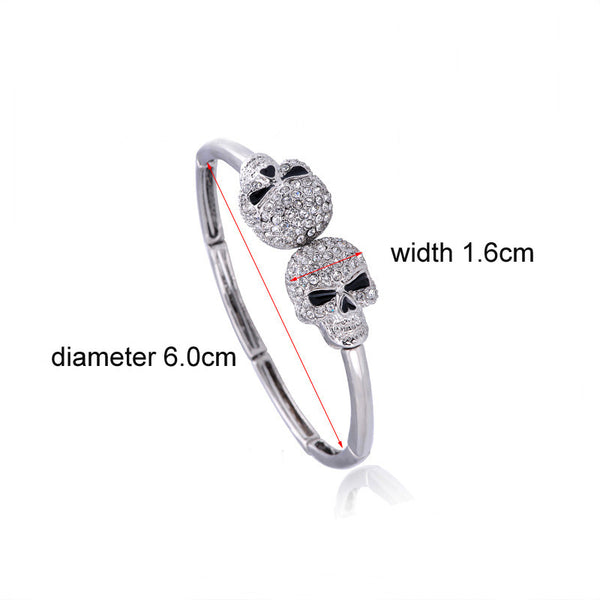 Double Skull Silver Rhinestone Bracelet Bangle