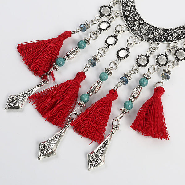 Red Thread Tassel Necklace - 786shop4you