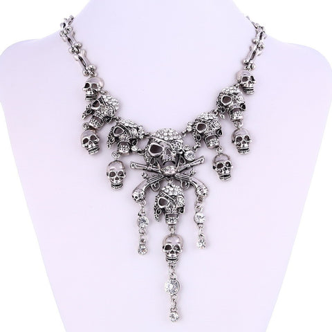 Pirate Skeleton Crystal Skull Necklace - 786shop4you
