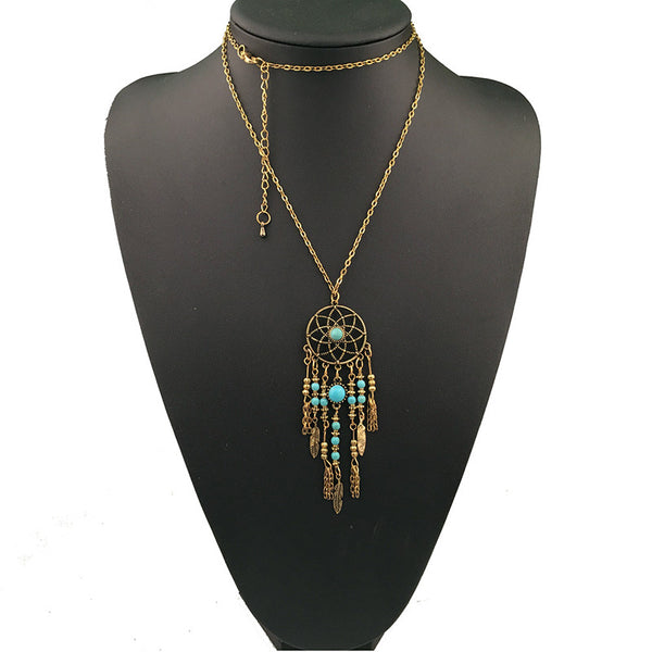 Vintage Long Turquoise Leaves Tassel  Pendant Necklace LB