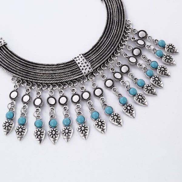 Bohemian Tassel Necklace Earring Set - 786shop4you