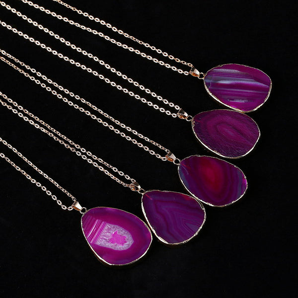 Gold Plated Natural Agate Necklace DLT - 786shop4you