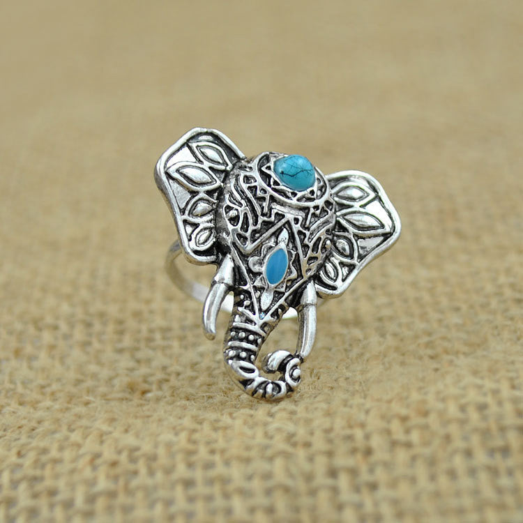 Silver Plated Elephant Ring Size ~ { US 7 } LB