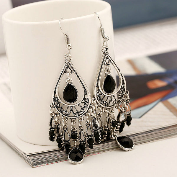 ELG Antique Silver Crystal Drop Earring LB - 786shop4you