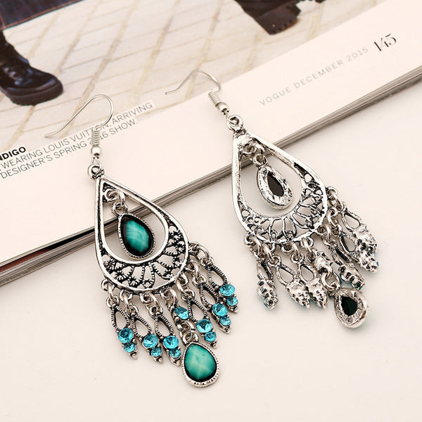 Antique Silver Crystal Drop Earring - 786shop4you