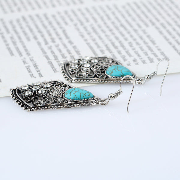 Turquoise Silver Crystal Flower Earring LB