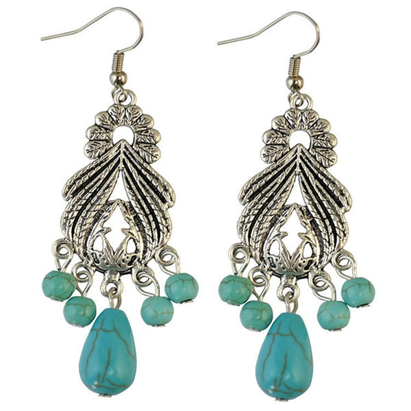 Ell Turquoise Drop Long Earring LB - 786shop4you