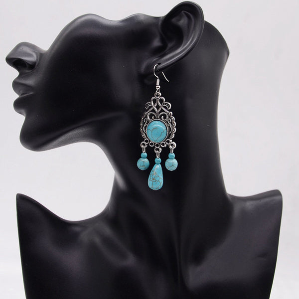 Turquoise Tassel Eye Gypsy Long Drop Earring LB