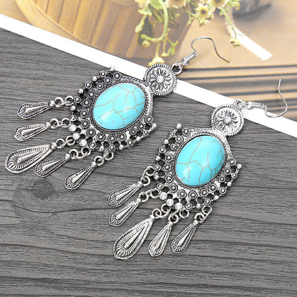 Turquoise Crystal Tassel Long Drop Earring LB