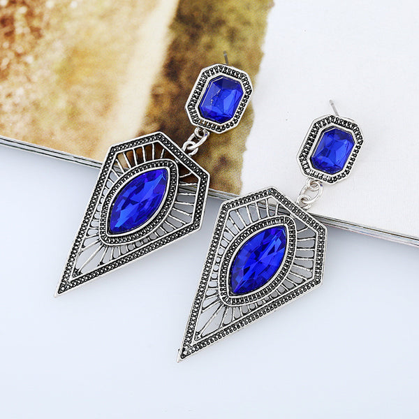 Silver TRL Gem Drop Earring