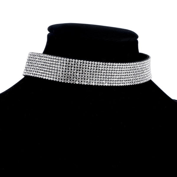 Cazell BB Black Leather Crystal Choker Necklace DLT - 786shop4you