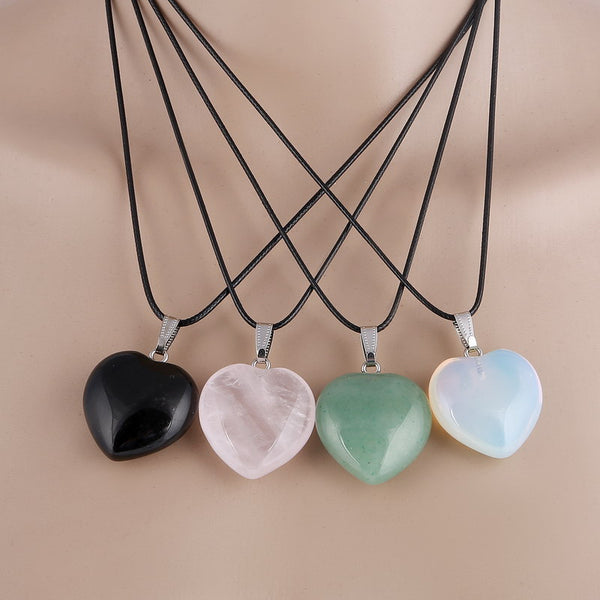 zz Natural Stone Love Pendant Necklace DLT