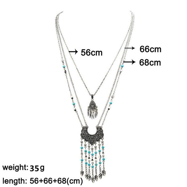 Kazzel Long Tassel Chain Necklace DLT