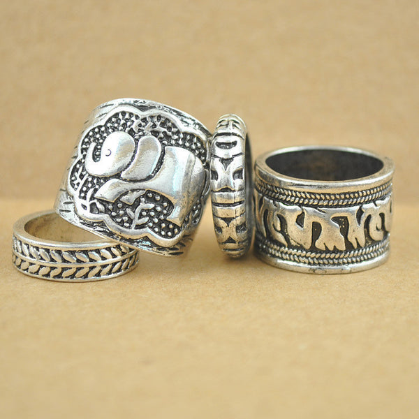 Oxell 4pcs Silver Elephant Fire Ring