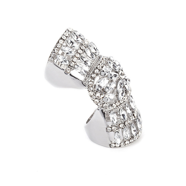 Crystal Silver Rhinestone Knuckle Ring LB - 786shop4you