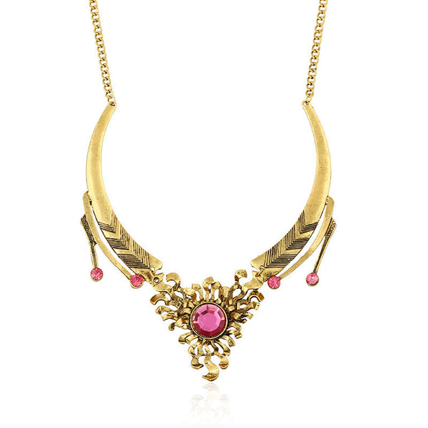 Flame Flower Crystal Necklace DLT - 786shop4you