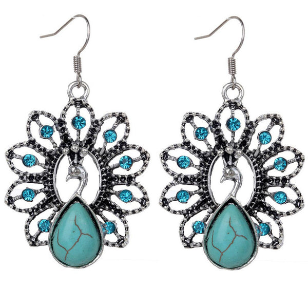 Turquoise Silver Peacock Pendant Necklace Earring Set DLT