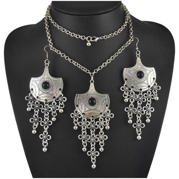 Antique Silver Flower Necklace Earring Set DLT - 786shop4you