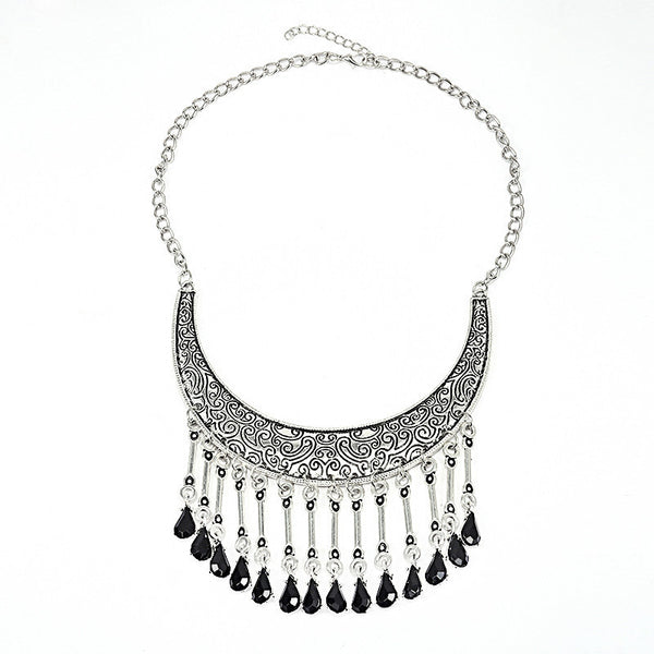 Black BeadsTassel Necklace DLT - 786shop4you