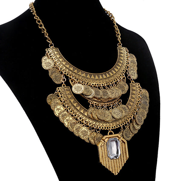 Gem Stone Multi layered Coin Necklace - 786shop4you