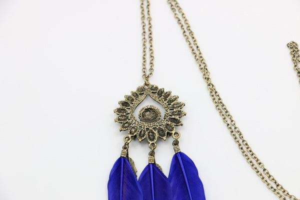 Bronze Feather Peacock Tezz Necklace DLT - 786shop4you