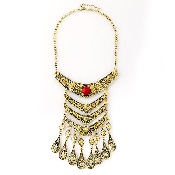 Antique T Teardrop Multilayer Tassel Necklace DLT - 786shop4you