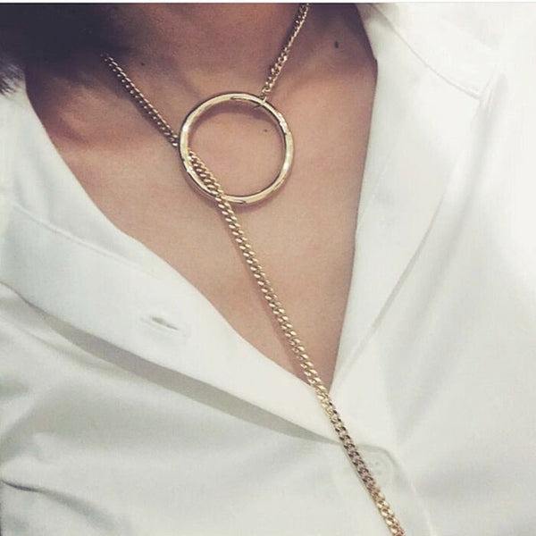 Bz Circle Long Chain Necklace - 786shop4you