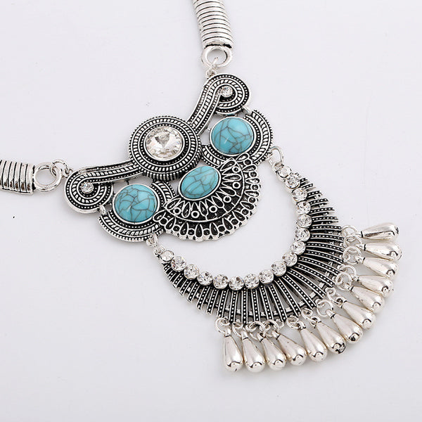 Crystal Turquoise Necklace Earring Set LB - 786shop4you
