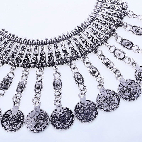 Tassel Coin Antique Silver Necklace - 786shop4you