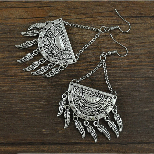 Antique Silver Feather Drop Earring - 786shop4you