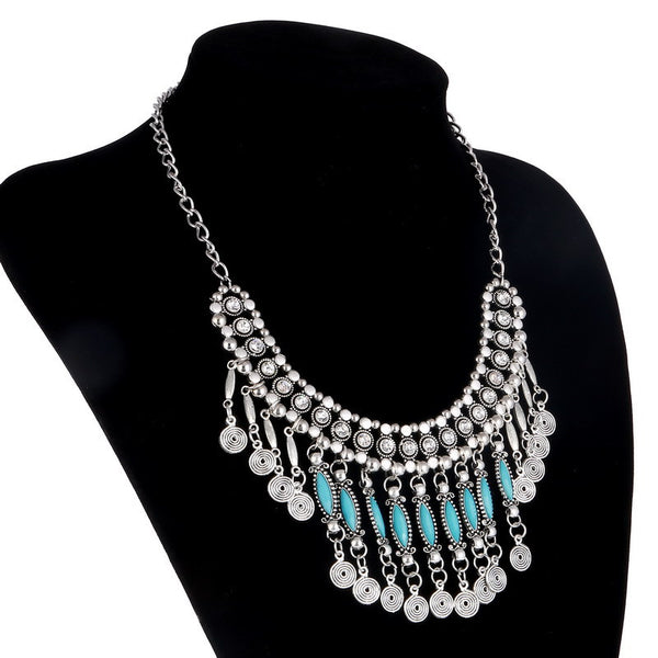 Antique silver plated tassel necklace - 786shop4you