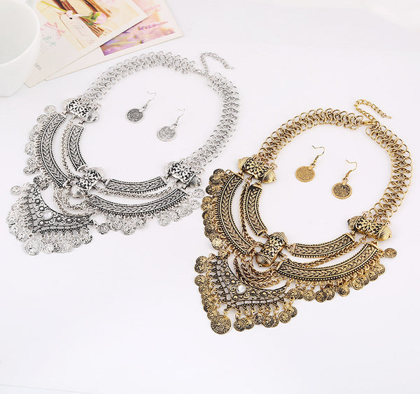 Choker Coin Necklace Earring Set - 786shop4you