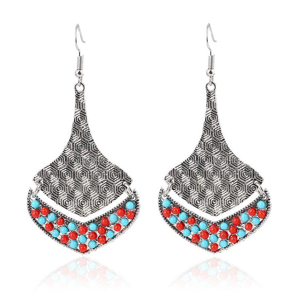 Colour Vintage Silver Drop Earring