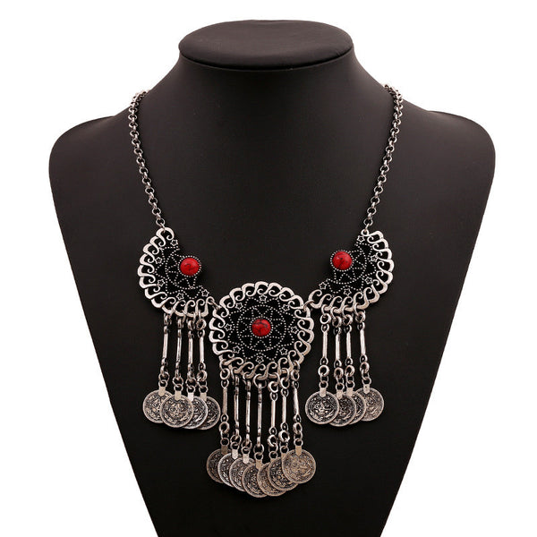 Tassel 3 Eye Coin  Necklace LB