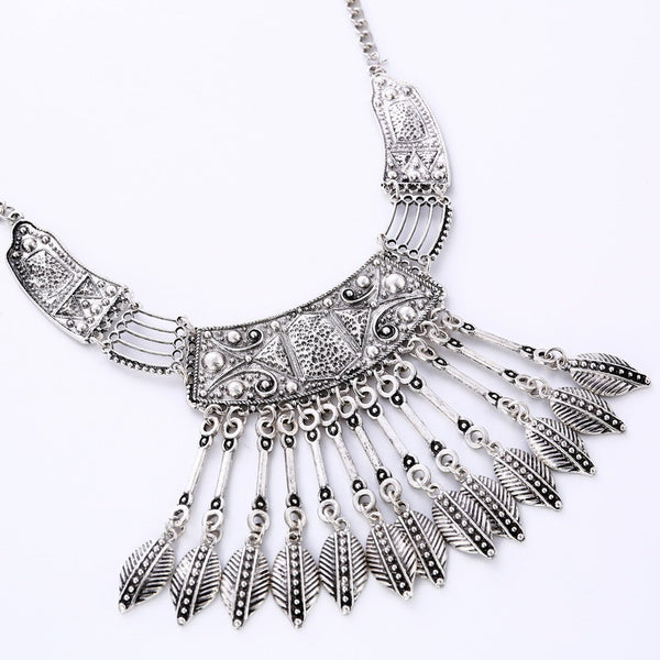 Vintage Leaves Tassel Choker Necklace