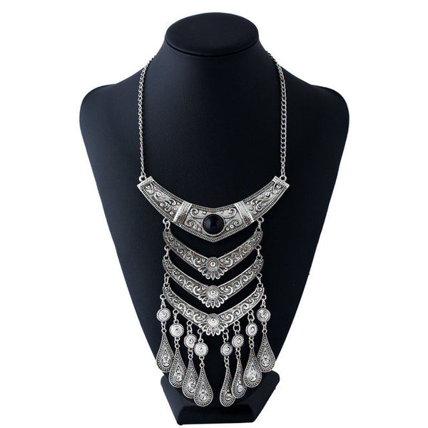 Antique T Teardrop Multilayer Tassel Necklace - 786shop4you